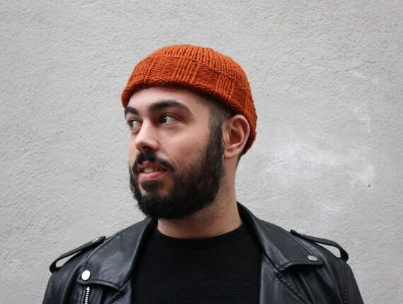 Men's Merino Beanie in Rust, hand knit in soft Merino wool in Toronto