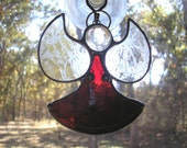LT Stained glass red Angel sun catcher light catcher ornament with clear textured wings