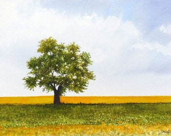 Lonely Tree Watercolor Painting