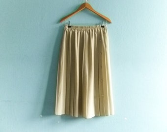 Vintage beige pleated skirt / high waist / midi / medium