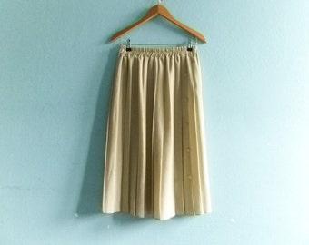 Vintage beige pleated skirt / high waist / midi / medium