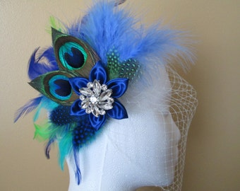 PEACOCK Wedding Fascinator, Royal Blue Head Piece, Bridal Hair Flower, Teal & Blue Feather Headpiece, Birdcage Veil, Something Blue
