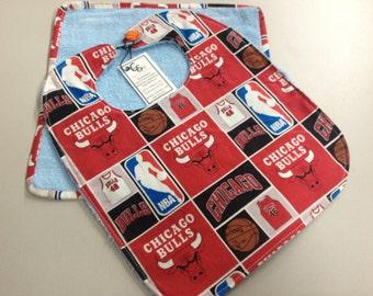 Chicago Bulls 6 Months & Up Baby Bib w/washcloth Set_Blue Terry Cloth