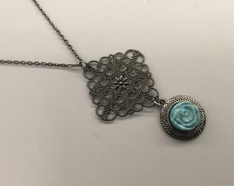 SJ Teal Rose Medalion Necklace