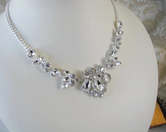 Sparkle Statement Wedding Necklace in Silver tone Great Bridal Wedding Jewelry