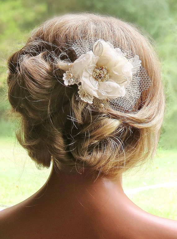<Champagne Wedding Flower Headpiece Handmade by FancieStrands>