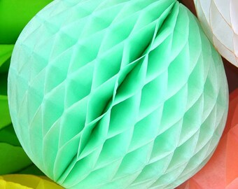 Mint Green Honeycomb Balls in 3 Sizes Weddings. summer parties. Bridal Showers Birthdays.Pink Honeycomb Balls