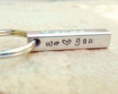 Father's Day Gift, Personalized Keychain, Four Sided Bar Keychain, Daddy Gift, Hand Stamped Keychain, Father Gift, Father's Day gift