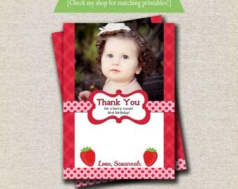 Strawberry Shortcake inspired birthday photo thank you card, digital, printable, custom, photo card, etc.