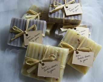 Lavender favors soaps- lavender trio - 30 large handmade soaps - bridal shower - wedding favors - organic - destination weddings