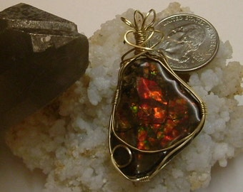 Bright Red, Green and Yellow Fire Ammolite from Utah Deposit Gold Filled Wire Wrap Pendant  316