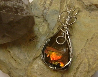 Bright Gem Quality Red to Orange Fire Gem Ammolite from Utah Deposit Wire Wrapped Pendant in Argentium Sterling Silver Wire 333