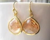 SALE // Blush Champagne Gold Bridesmaid Earrings Glass Dangle Teardrop, Bridal, Wedding, Teardrop Earrings, 14K Gold Filled Wire, Peach