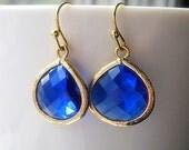 Royal Blue Drop Earrings / Glass Dangle Teardrop / Bridesmaids / Wedding / Cobalt / 14K Gold Filled Wire / Topaz / Malibu Blue / Capri Blue
