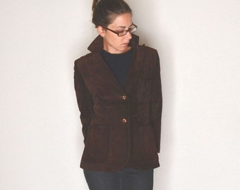 Suede Leather Jacket 1960s Vintage Brown Fitted Blazer Style Coat by Beged-Or Small