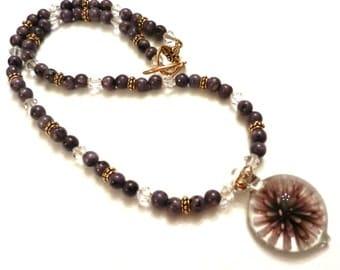 Purple Kiwi Quartz Necklace With Swarovski Crystals, Purple Necklace, Crystal Necklace, Purple Quartz