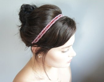 Velvet Elastic Headband - Burgundy Elastic Headband - Elastic Velvet Flapper Headband - Burgundy Art Deco Headband - 1990's Velvet Headband