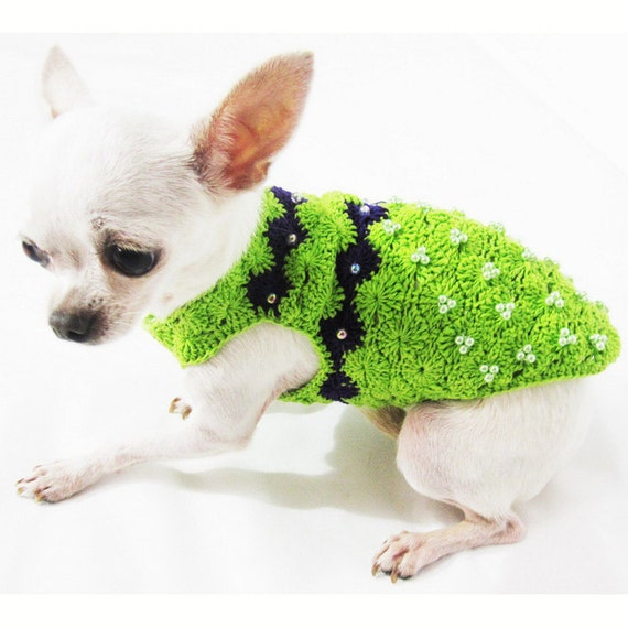 Teacup Chihuahua Clothes Colorful Lime Green with Pearls Dog Costumes ...
