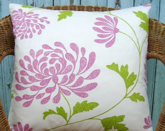 SALE - flower pillow cover - floral pillow cover - flower pillow - pink flower pillow cover - decorative pillow cover - modern pillow