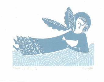 Floating Angel Linocut Print - Original Hand Pulled Block Print -  Modern Guardian Angel -  Dove of Peace Art - Love Gift - Christening Gift
