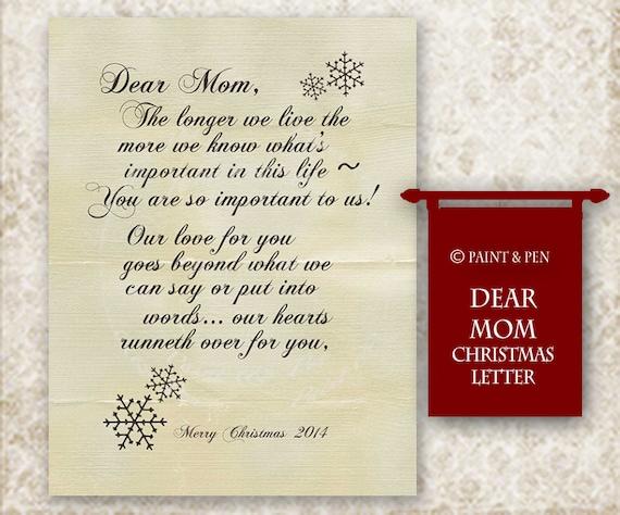 Items Similar To Dear Mom Christmas Card Insert Letter A