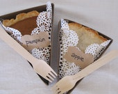 PIE SLICE BOX- For Weddings, Picnics, Parties, Holidays- Pie Box, Liner, Wooden Fork and Adhesive