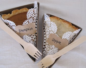 PIE SLICE BOX- For Weddings, Picnics, Parties, Holidays- Pie Box, Liner, Wooden Fork, Pie Bar