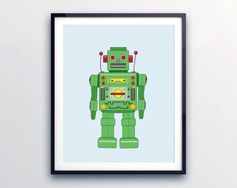 ROBOT WALL PRINT - Art for children's rooms, nursery robot decor, nursery print, Robot art, toddler boy, kids and baby decor, Robot Decor