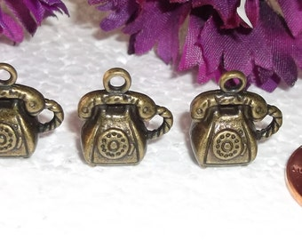 28 Antiqued Brass Telephone Charms/Pendants