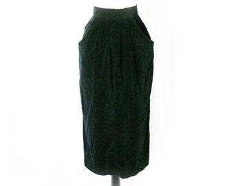 Vintage 40s Black Velvet Skirt XS Tulip Pleated Pockets Kickpleat