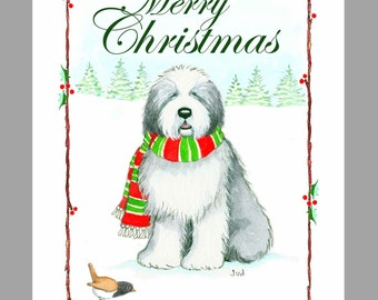 Old English Sheepdog Christmas Cards,  Box of 16 Cards with 16 White Envelopes