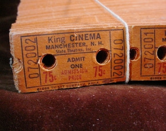 Vintage Movie Theatre Tickets King Cinema Manchester New Hampshire 1960s Lot of 90