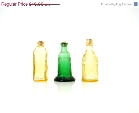 Sale half off shop miniature bottle collections colored glass for Colored glass bottles with corks