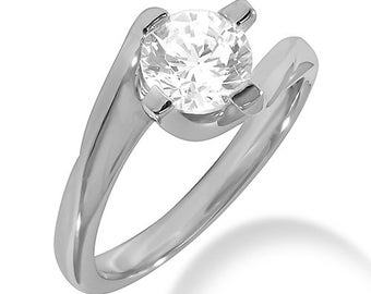 1/2ct GIA Certified Diamond Solitaire  Engagement Ring Twisted Shank  In 14k White Gold SR295