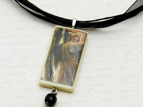Dark angel necklace with glass bead - domino necklace