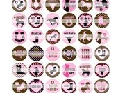 80 COWGIRL cutie pink brown rodeo horse boots ride  set of 16 1 1/2 1.50 1.5 inch magnet button badge pin back pinback flat back flatback
