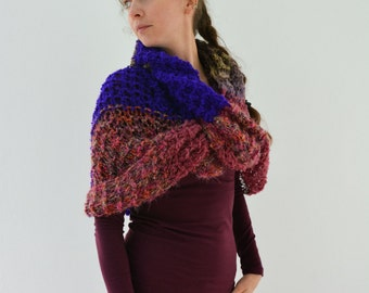 Maia boucle hand knit loop cowl scarf in green, blue, pink, brown