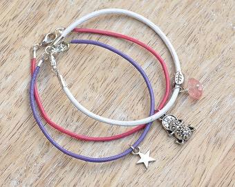 Lucky Frog Charm Leather Bracelet Trio