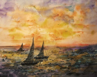 Seascape, Print of Original Watercolor Painting, nautical art, ocean sunset, watercolor art, watercolor print, sailboat painting.
