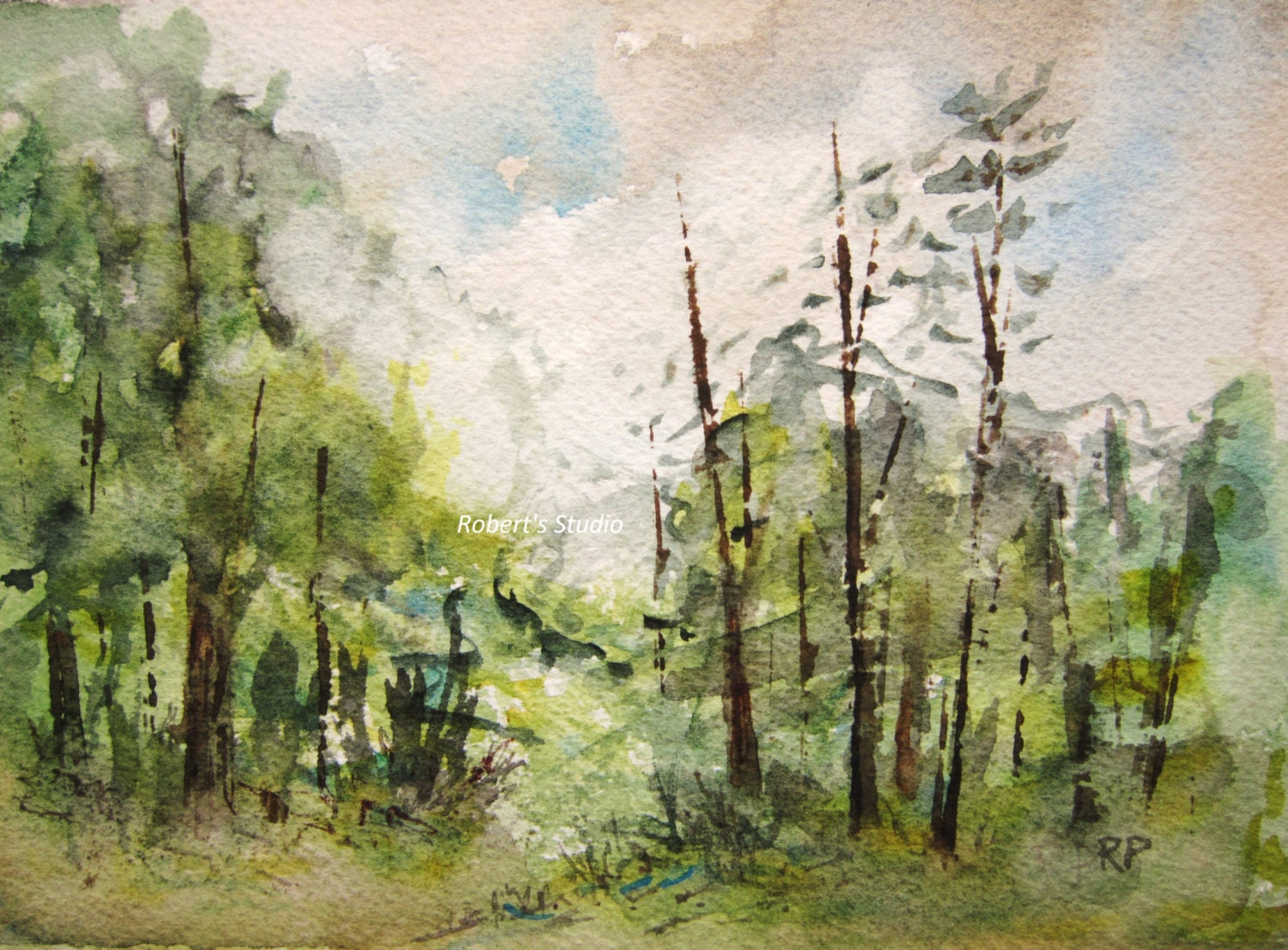 Original Watercolor Landscape Painting 5x7 Watercolor