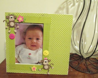 4x6 Monkey Themed - Hand Decorated Picture Frame