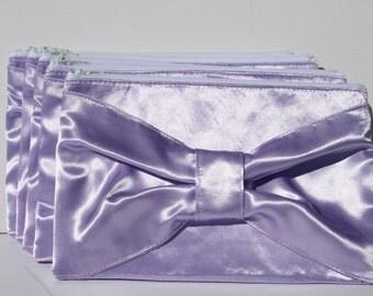 Light Purple Satin Clutch Bow Design Satin Formal Evening Bride bridal Clutches Zipper closure
