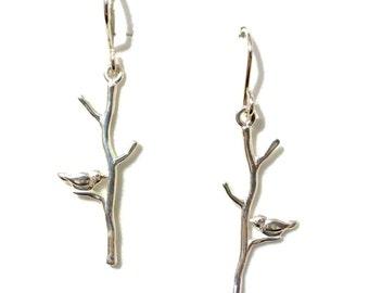 Twigs Earrings, Bird Earrings, Branches Earrings, Sterling Silver Dangle Earrings, Leaf Earrings, Minimalist Jewelry, TWEETY