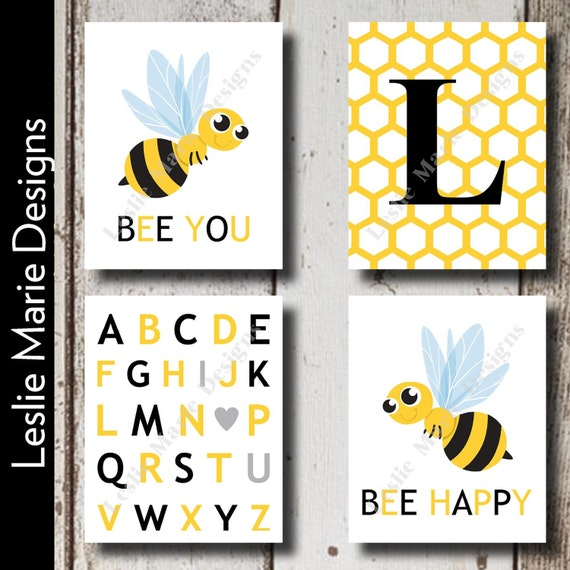 Bumblebee wall art bumble bee wall art bumble bee nursery for Bumble bee mural