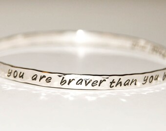 Delicate sterling silver bangle - two sided or inside message, personalized bangle, secret message bangle, engraved slim silver bangle