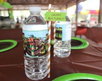 Teenage Mutant Ninja Turtle Party Water Bottle Labels
