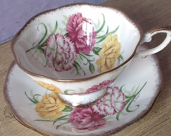 Antique Royal Standard artist signed tea cup and saucer, English tea cup, pink and yellow tea cup, Bone china tea cup, antique tea cup