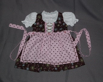 Pink and Brown Baby Dirndl