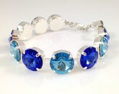 Blue Sapphire Bracelet - Aquamarine Swarovski Crystal Rivoli 12mm Silver Bracelet Sparkling Bridesmaids Jewelry Royal Blue