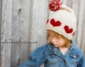 Valentine's Day Knitting Pattern - Valentines Day Hat Pattern - Heart Hat Knit Pattern ~ Girls Hat Knitting Pattern ~ Kid Hat Pattern